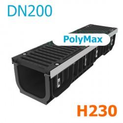 Лоток водоотводный PolyMax ЛВ-20.29.23-ПП пластиковый с решеткой щелевой чугунной ВЧ кл. Е (комплект)