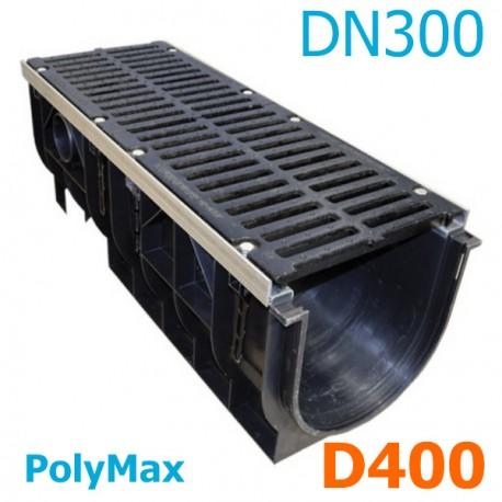 Лоток водоотводный PolyMax ЛВ-30.39.38-ПП пластиковый с решеткой щелевой чугунной ВЧ кл. D
