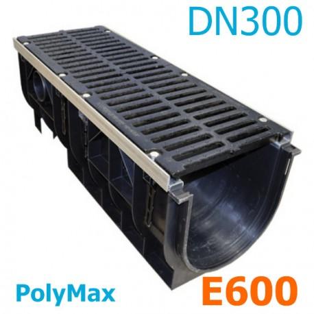Лоток водоотводный PolyMax ЛВ-30.39.38-ПП пластиковый с решеткой щелевой чугунной ВЧ кл. E