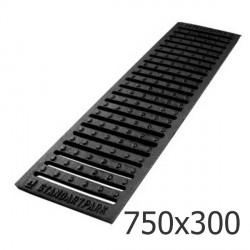Чугунная решетка 750х300 дренажная, кл. C