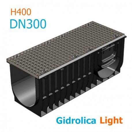 Лоток Gidrolica Light DN300 H400 с ячеистой стальной решеткой