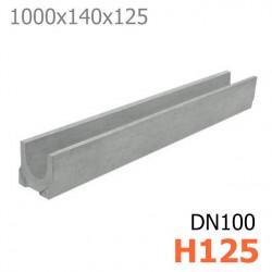 Схема: Лоток DN100 H125 бетонный
