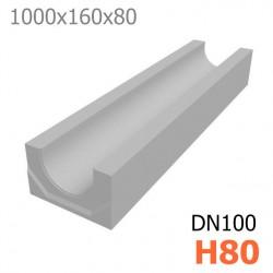 Схема 1: Лоток DN100 H80 бетонный