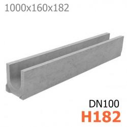 Схема 1: Лоток DN100 H182 бетонный