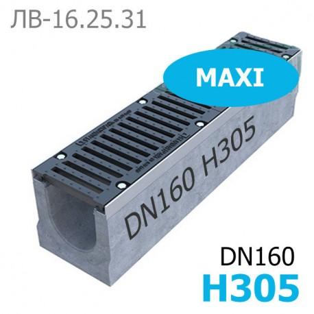 Комплект: лоток водоотводный Maxi ЛВ-16.25.31-Б бетонный с решеткой чугунной ВЧ-50 кл. E (щелевой)
