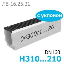 Комплект: лоток водоотводный Maxi ЛВ-16.25.31 бетонный с уклоном с решеткой чугунной ВЧ-50, кл. E (щелевой)