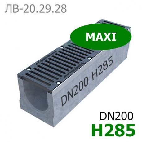 Комплект: лоток водоотводный Maxi ЛВ-20.29.28-Б бетонный с решеткой щелевой чугунной ВЧ-50 кл. E