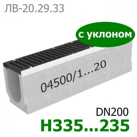 Комплект: лоток водоотводный Maxi ЛВ-20.29.33-Б бетонный с уклоном с решеткой чугунной ВЧ-50, кл. D и E