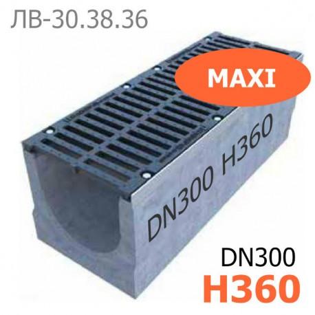 Комплект: лоток водоотводный Maxi ЛВ-30.38.31-Б бетонный с решеткой щелевой чугунной ВЧ-50 кл. E