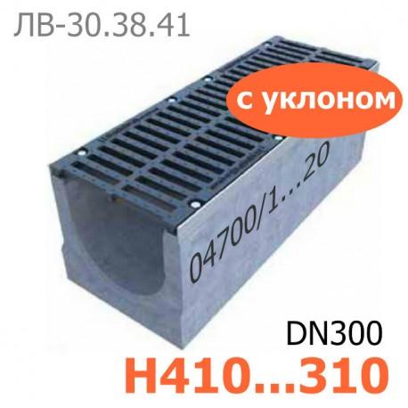 Комплект: лоток водоотводный Maxi ЛВ-30.38.41-Б бетонный с уклоном с решеткой чугунной ВЧ-50, кл.D и E
