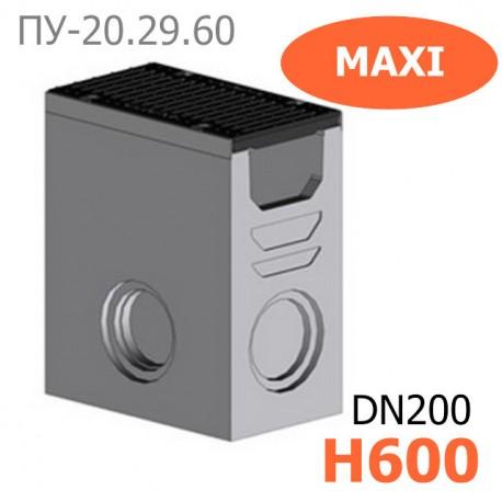 Комплект: пескоуловитель Maxi-20.29.60-Б бетонный с решеткой водоприемной чугунной ВЧ-50, кл. D и E
