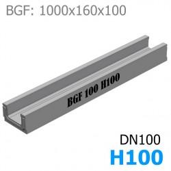 BGF Мелкосидящий лоток DN100, h 100, без уклона