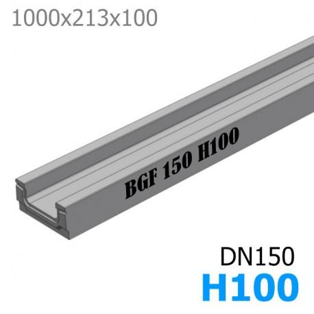 BGF Мелкосидящий лоток DN150, высота 100, без уклона (бетонный)