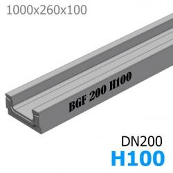 Схема: BGF Мелкосидящий лоток DN200, высота 100, без уклона (бетонный)