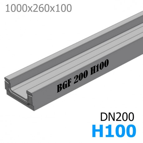 BGF Мелкосидящий лоток DN200, высота 100, без уклона (бетонный)