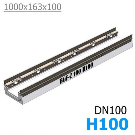 BGF-Z Мелкосидящий лоток DN100, с оцинкованной насадкой, h 100, без уклона (бетонный)