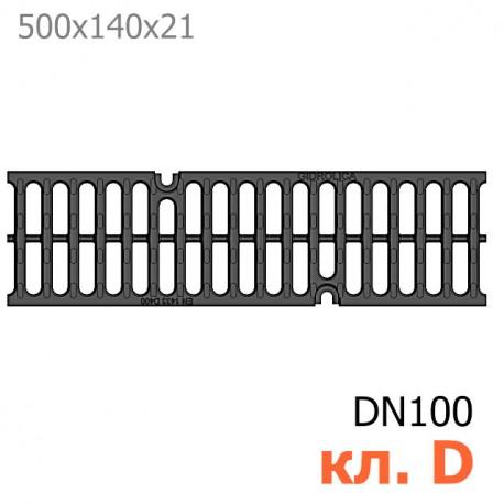 Решетка водоприемная Gidrolica Super РВ-10.14.50 щелевая чугунная ВЧ, кл. D400