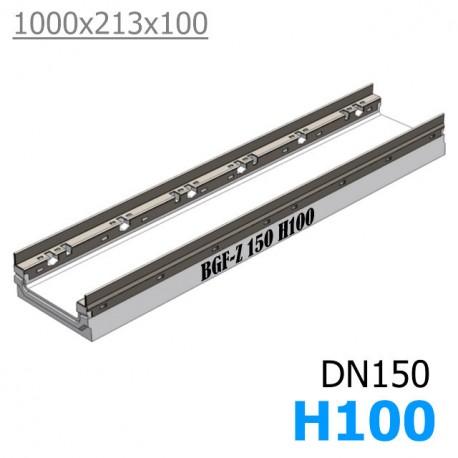BGF-Z Мелкосидящий лоток DN150, с оцинкованной насадкой, h 100, без уклона (бетонный)