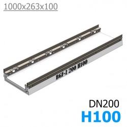 BGF-Z Мелкосидящий лоток DN200, с оцинкованной насадкой, h 100, без уклона (бетонный)