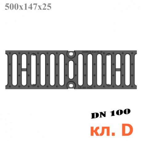 Решетка чугунная щелевая DN100, 500/147/25, 18/120, кл. D400