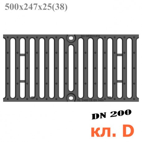 Решетка чугунная щелевая DN200, 500/247/25, 18/220, кл. D400