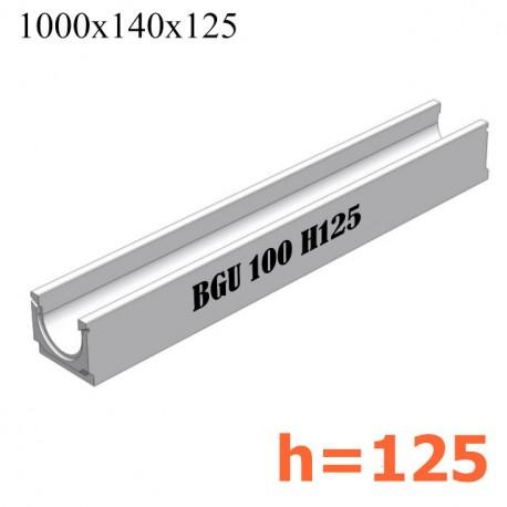 BGU Универсальный лоток DN100, ширина 140, без уклона (бетонный)