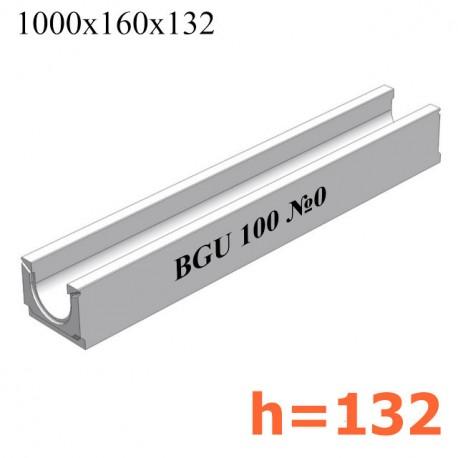 BGU Универсальный лоток DN100, № 0, без уклона (бетонный)