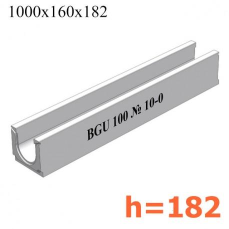 BGU Универсальный лоток DN100, № 10-0, без уклона (бетонный)