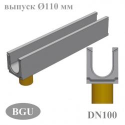 Лотки бетонные BGU DN100 с вертикальным водоотводом