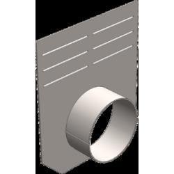 Вид спереди: Заглушка 210 мм (с выпуском) для бетонных лотков DN150