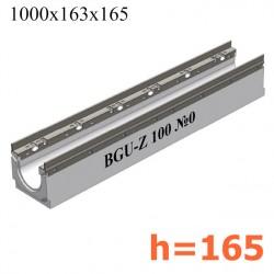 BGU-Z Универсальный лоток DN100, № 0, с оцинкованной насадкой, без уклона (бетонный)