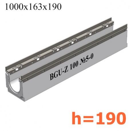 BGU-Z Универсальный лоток DN100, № 5-0, с оцинкованной насадкой, без уклона (бетонный)