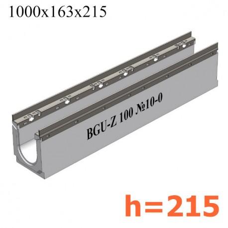BGU-Z Универсальный лоток DN100, № 10-0, с оцинкованной насадкой, без уклона (бетонный)