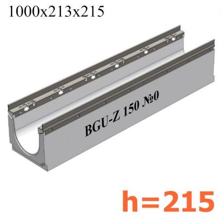BGU-Z Универсальный лоток DN150, № 0, с оцинкованной насадкой, без уклона (бетонный)