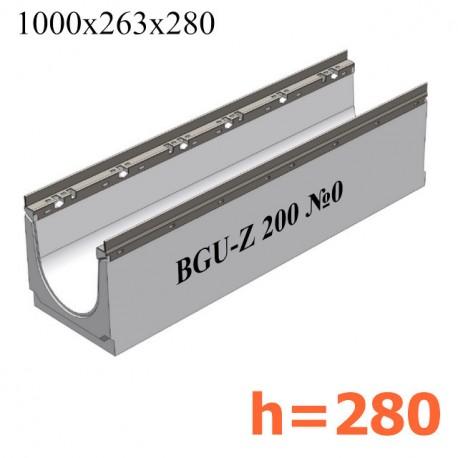 BGU-Z Универсальный лоток DN200, № 0, с оцинкованной насадкой, без уклона
