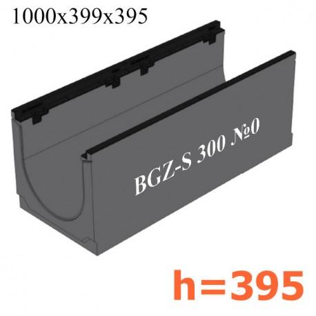 BGZ-S лоток для тяжелых нагрузок DN300, № 0, с чугунной насадкой, без уклона
