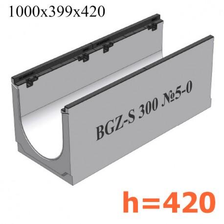BGZ-S лоток для тяжелых нагрузок DN300, № 5-0, с чугунной насадкой, без уклона