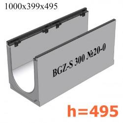 BGZ-S лоток для тяжелых нагрузок DN300, № 20-0, с чугунной насадкой, без уклона