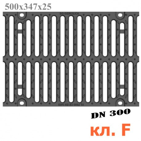 Решетка чугунная для тяжёлых нагрузок DN300, 500/347/25, 16/148, кл. F900