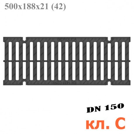 Решетка водоприемная Gidrolica Pro РВ-15.18,8.50 щелевая пластиковая, кл. C250