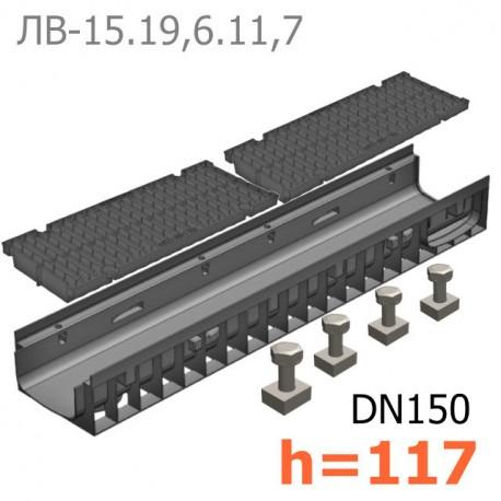 Лоток водоотводный Gidrolica Pro ЛВ-15.19,6.11,7 пластиковый