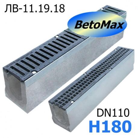 Лоток водоотводный BetoMax ЛВ-11.19.18-Б бетонный с решёткой чугунной