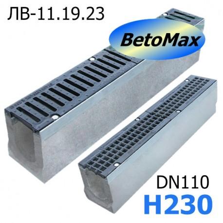 Лоток водоотводный BetoMax ЛВ-11.19.23-Б бетонный с решёткой чугунной
