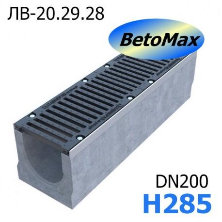 Лоток водоотводный BetoMax ЛВ-20.29.28-Б бетонный с решёткой чугунной ВЧ  (комплект)