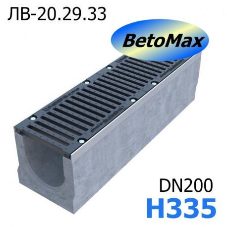 Лоток водоотводный BetoMax ЛВ-20.29.33-Б бетонный с решёткой чугунной ВЧ (комплект)
