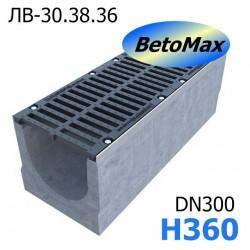 Лоток BetoMax ЛВ-30.38.36-Б бетонный с решеткой щелевой чугунной ВЧ кл. D и Е (комплект)