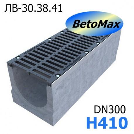 Лоток BetoMax ЛВ-30.38.41-Б бетонный с решеткой щелевой чугунной ВЧ кл. D и Е (комплект)