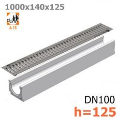 Бетонный лоток ЛВ-10.14.13 с решеткой стальной