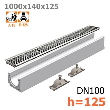 Бетонный лоток ЛВ-10.14.13 с решеткой стальной ячеистой