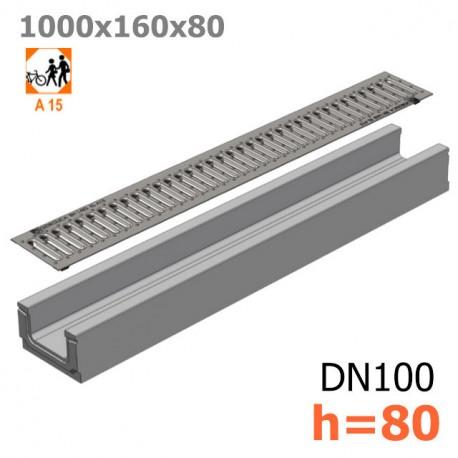 Бетонный лоток ЛВ-10.16.08 с решеткой стальной